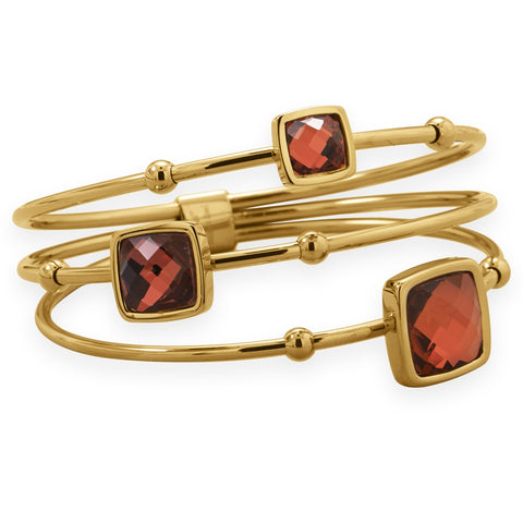 Wildfire Fashion Stacked Look Bangle Bracelet Yellow Goldtone on Steel with Red Glass