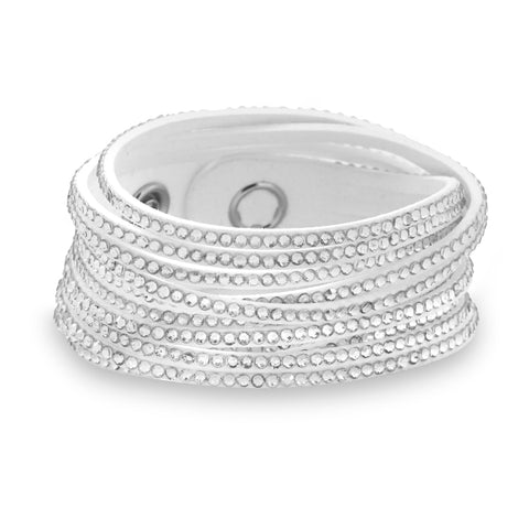 Hollywood Fashion Layer Wrap Bracelet Bridal White with Sparkling Crystals
