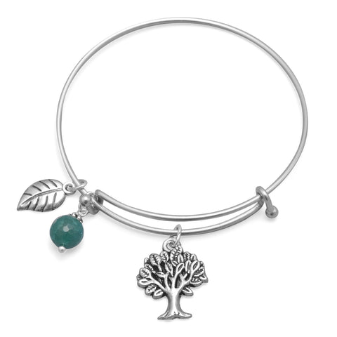 Wildfire Fashion Expandable Bangle Bracelet with Green Agate, Tree, and Leaf Charms Silver Tone