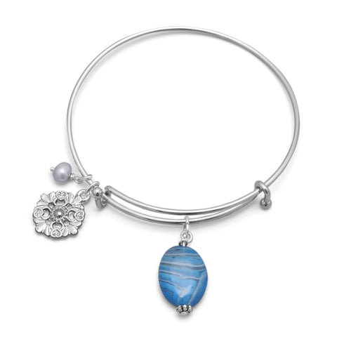 Expandable Bangle Bracelet with Heart, Cultured Freshwater Pearl and Blue Agate Charms