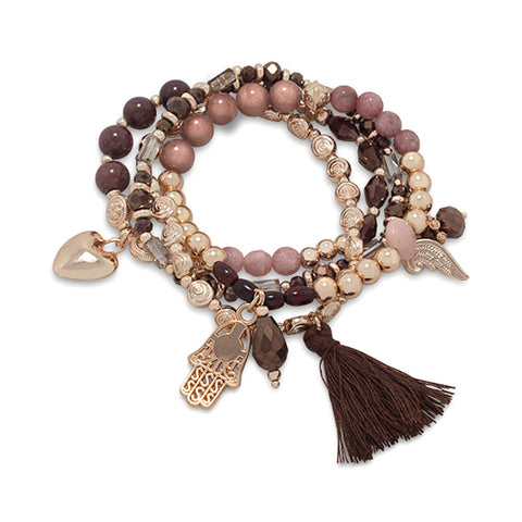 Wildfire Fashion Charm Stacking Stretch Bracelet Set with Stones, Crystals, Charms, and Tassel