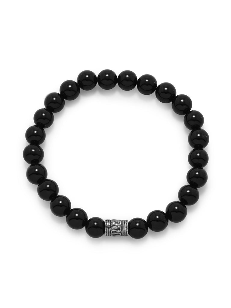 AzureBella Jewelry Black Bead Stretch Bracelet with 8mm Beads Mens Womens