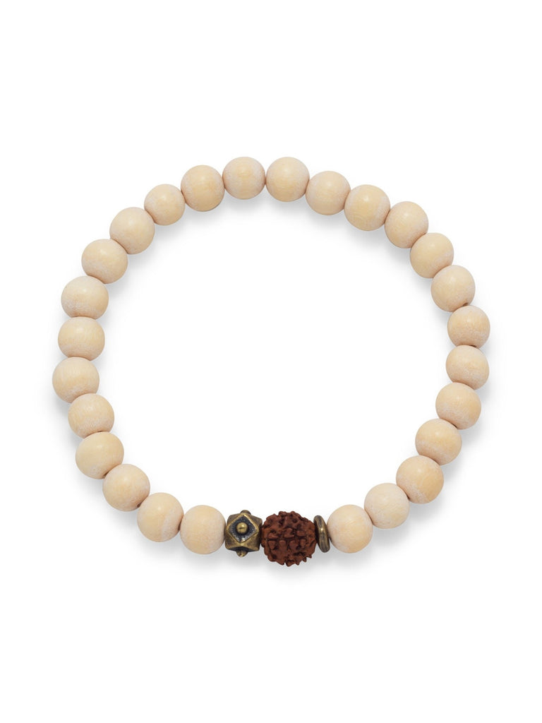 AzureBella Jewelry White Wood Bead Stretch Bracelet with 8.5mm Beads Mens Womens