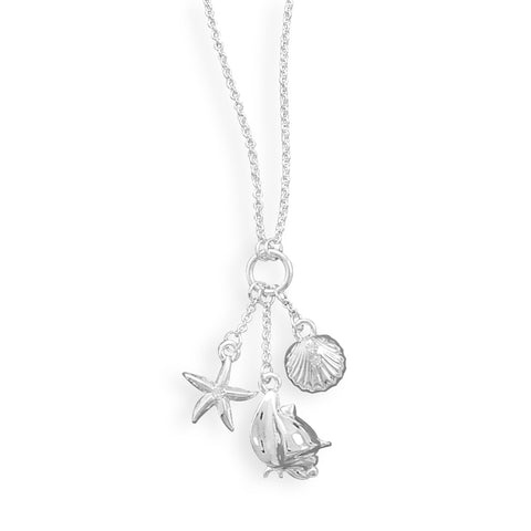 Wildfire Fashion Nautical Charm Crystal Necklace with Starfish Clam and Conch Shells