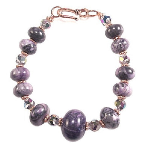 Wildfire Fashion Purple Stone and Crystal Copper Bracelet with Easy Hook Clasp