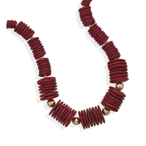 Red Coco Wood Bead and Gold Fashion Necklace 18 inches
