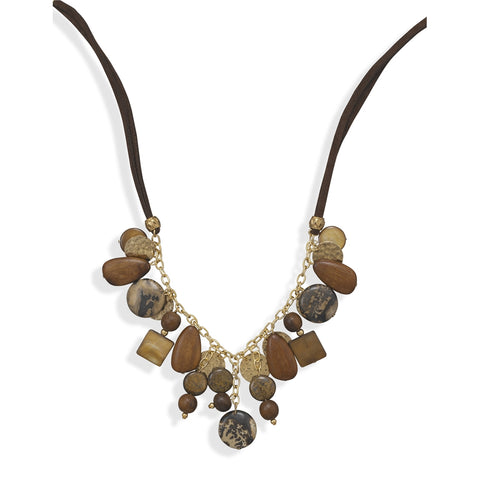 Wildfire Fashion Brown Suede Necklace with Jasper, Wood, Shell, and Bronzite Beads