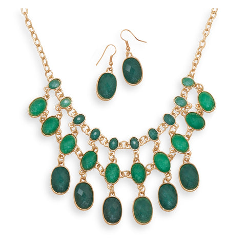 Wildfire Fashion Green Bib Necklace and Earring Set Gold-tone Adjustable Length