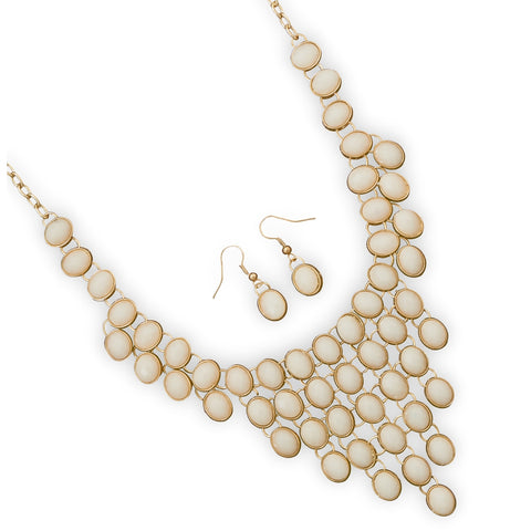 Wildfire Fashion Bib Necklace and Earring Set Cream Off White Ivory Color Adjustable Length