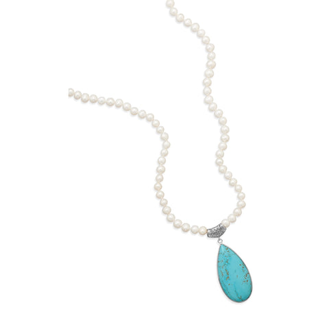Wildfire Fashion Magnesite Teardrop Pendant and 9mm Cultured Pearl Necklace Endless - No Clasp