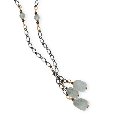 Wildfire Fashion Gold and Gunmetal Two Tone Chain Necklace with Blue Quartz and Black Czech Beads