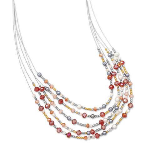 Wildfire Fashion Red and Golden Crystal Bead with Imitation Pearl Multistrand Necklace