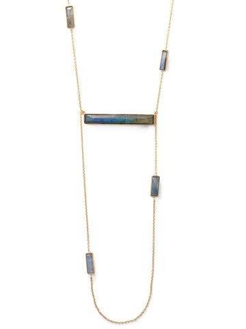 Wildfire Fashion Ladder Bar Necklace with Labradorite Adjustable to 44-inch Length