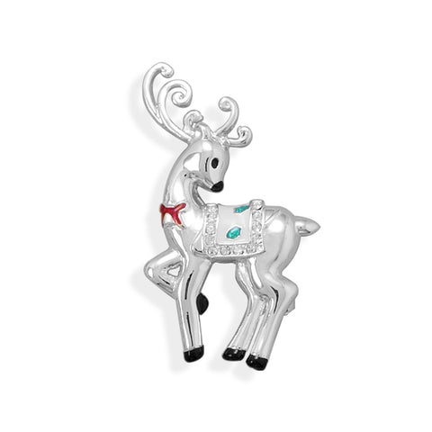 Reindeer Fashion Pin - Silver-plated with Crystal Accents