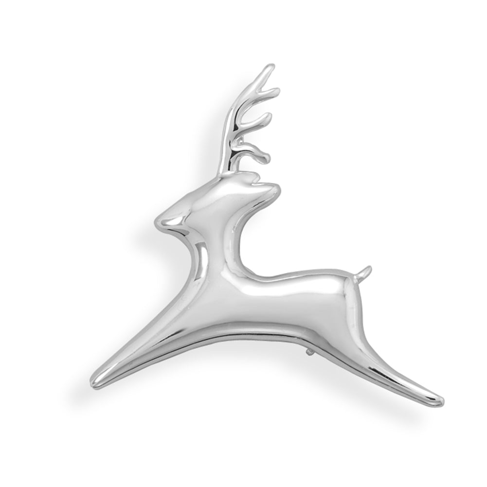 Flying Reindeer Fashion Pin Brooch or Pendant - Silver-plated