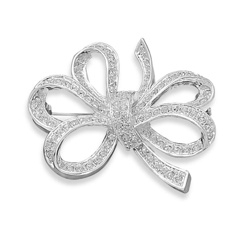 Wildfire Fashion Bow Pin Accented with Crystal - Silver-plated