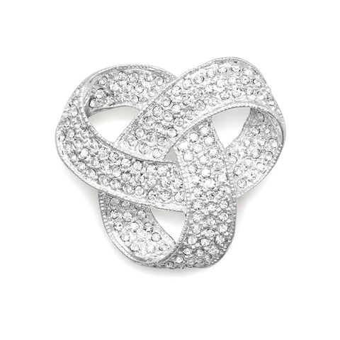 Wildfire Fashion Love Knot Pin Brooch Crystal Plated with Fine Silver