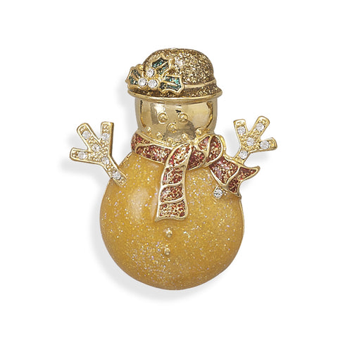 Wildfire Fashion Snowman Pin Brooch Gold-plated and Crystal Accents