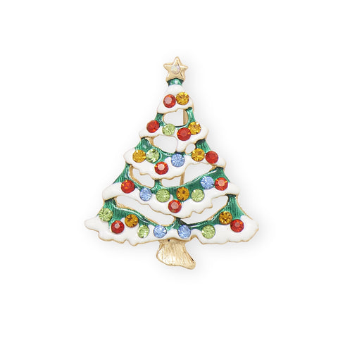 Christmas Tree Pin Brooch With Crystals And Snow