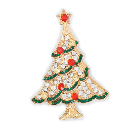 Wildfire Fashion Christmas Tree Pin with Red Clear and Green Crystals Goldtone