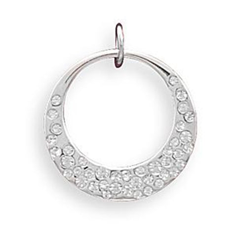 Wildfire Fashion Open Circle Pendant Accented with Crystals - Silver Plate