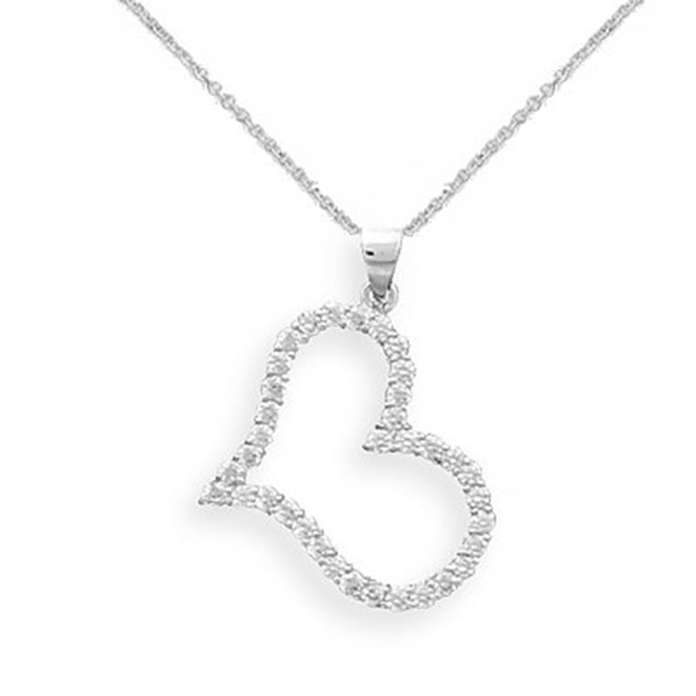 Wildfire Fashion Side Heart Necklace with Sparkling Cubic Zirconia with 20-inch chain