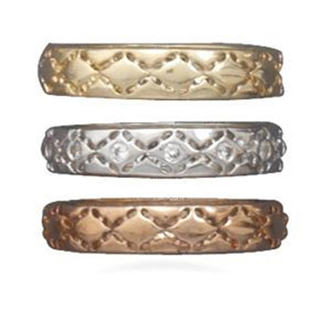 Wildfire Fashion Set of Three Band Rings Tri-tone Rose, Yellow, and Silvertone