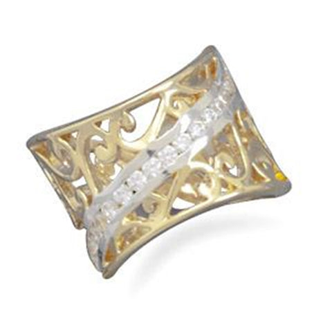 Wildfire Fashion Filigree Wide Band Ring with Cubic Zirconia Accents Two-tone Size 5