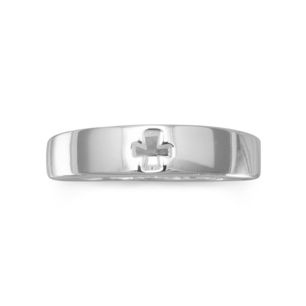 Cut Out Cross Ring  Silver Plate