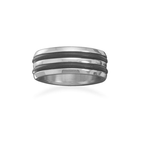 Mens Black Line 316L Stainless Steel and Rubber Band Ring 8mm Width