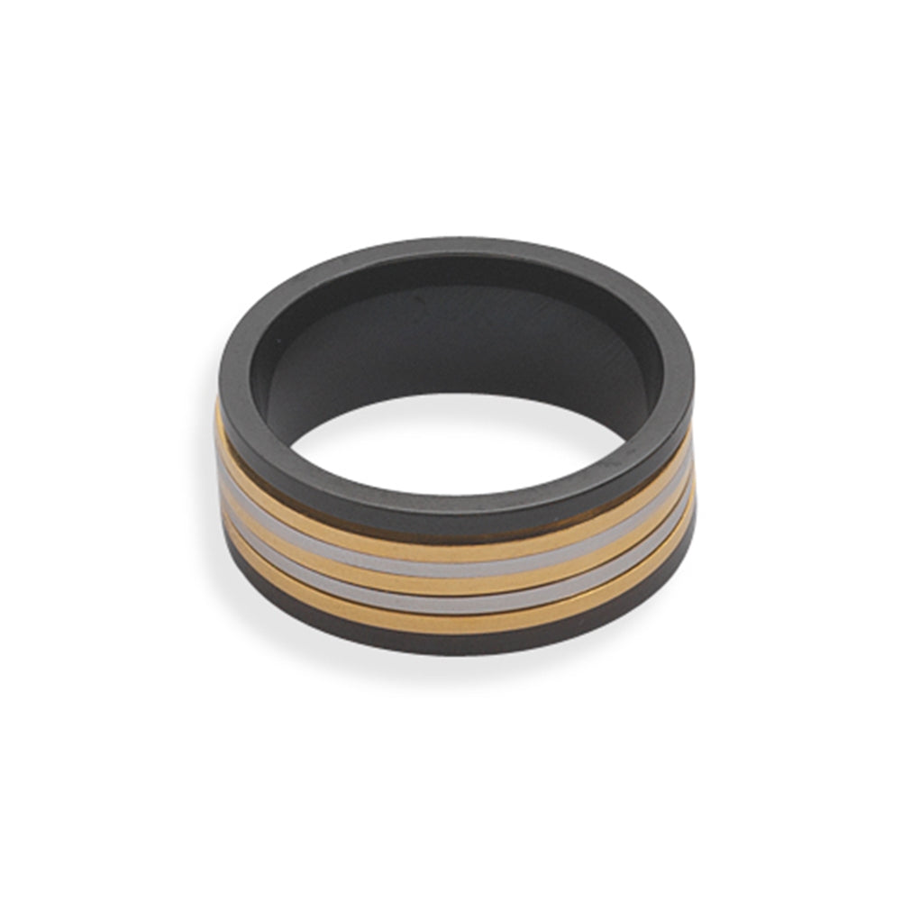 Spin Ring Tri Tone Black Silvertone and Goldtone Stainless Steel 9mm Band