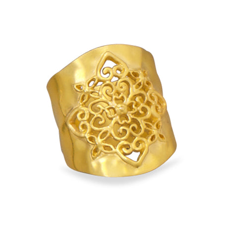 Hammered Gold-tone with Heart Filigree Design Fashion Cigar Band Ring