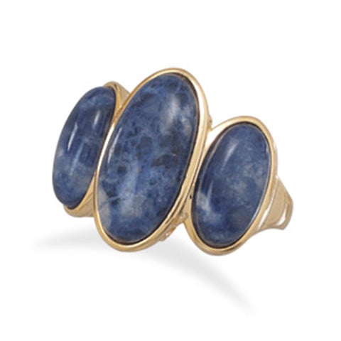 Wildfire Fashion Blue Sodalite 3-stone Ring Gold-plated, 7