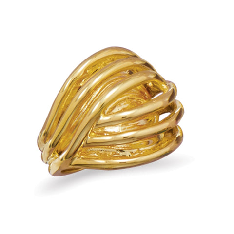 Gold-plated Domed Arched Statement Ring 20mm Wide, Size 10