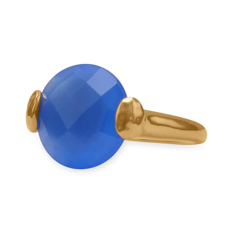 Wildfire Fashion Blue Chalcedony Ring Faceted Round Gold-plated Brass, Sizes 5-9