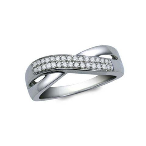 Genuine Diamond Band Ring Infinity Overlap Rhodium on Sterling Silver Nontarnish
