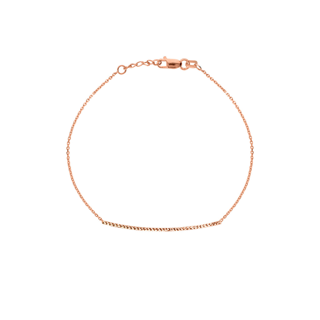 14k Rose Gold East 2 West Diamond-cut Bar Bracelet