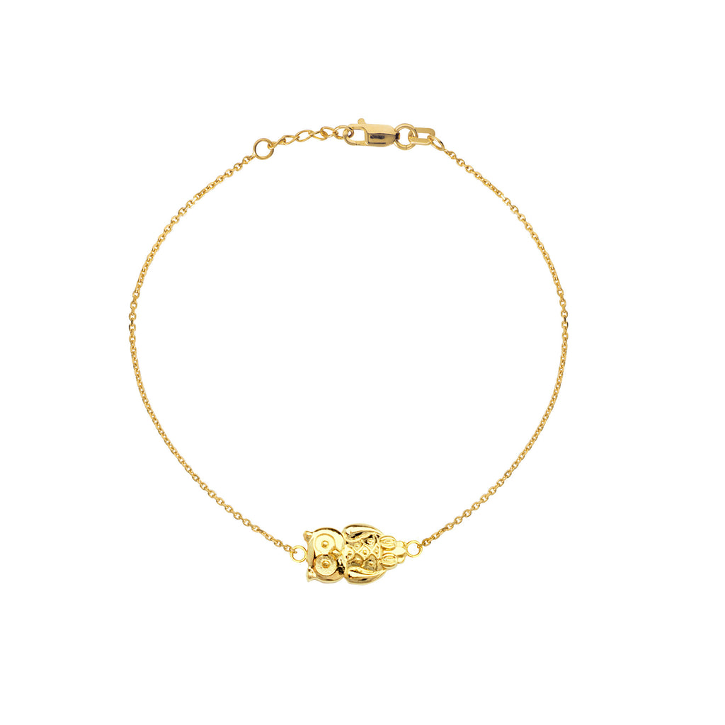 East 2 West Owl Bracelet 14k Yellow Gold Adjustable Length