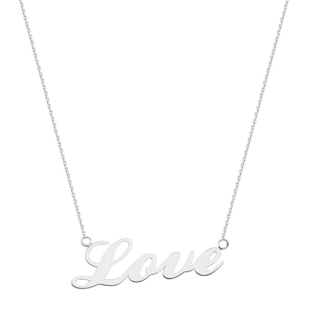 14k White Gold Cursive Word Love Necklace East 2 West