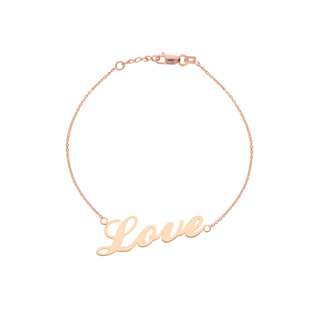 14k Rose Gold Cursive Word Love Bracelet East 2 West