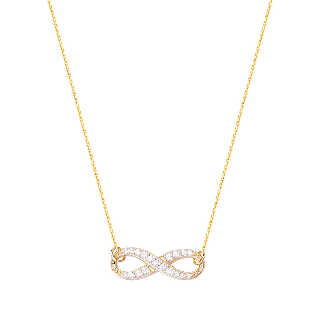 14k Yellow Gold Infinity Necklace with Cubic Zirconia Adjustable Length East2West