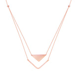 14k Rose Gold Triangle Bar Necklace - Layered Duos