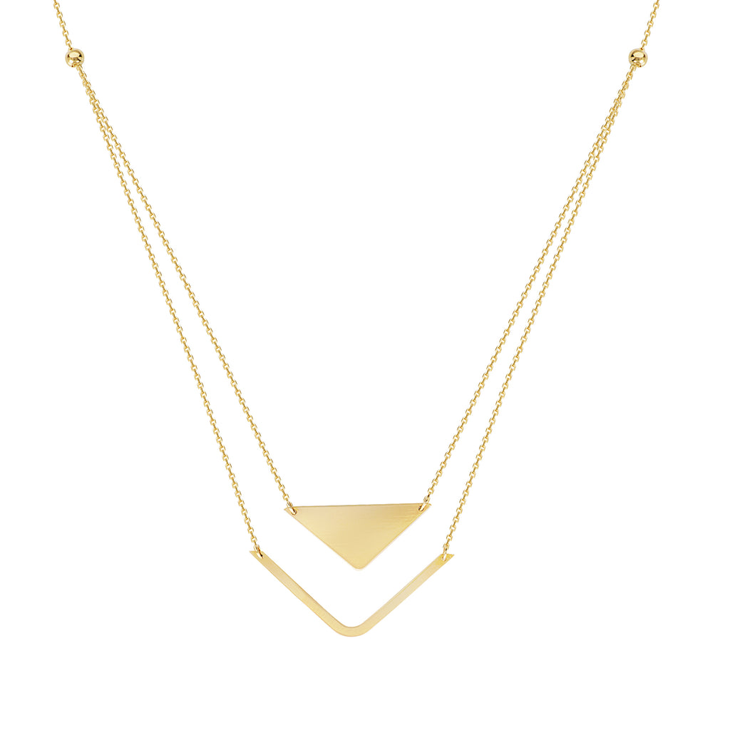 14k Yellow Gold Triangle Bar Necklace - Layered Duos