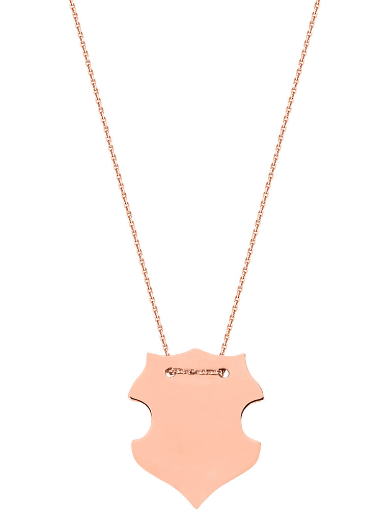 14k Rose Gold Engraveable Shield Necklace East2West Tailored Collection
