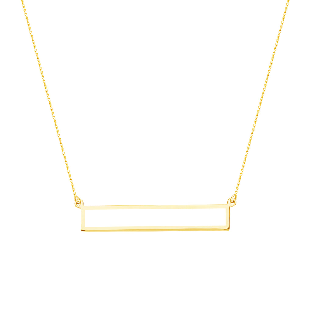 East 2 West Open Rectangle Bar Necklace 14k Yellow Gold