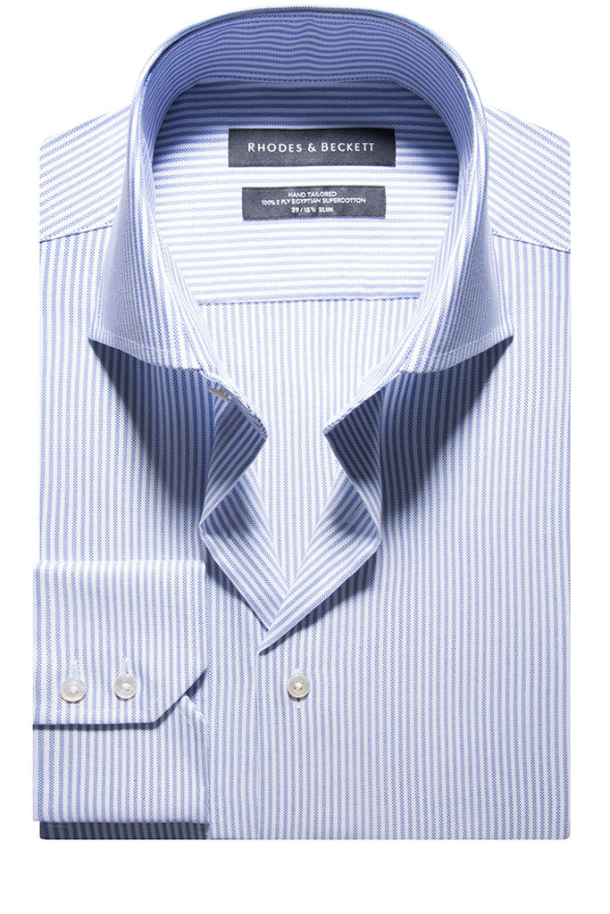 White Mid Blue Oxford Stripe