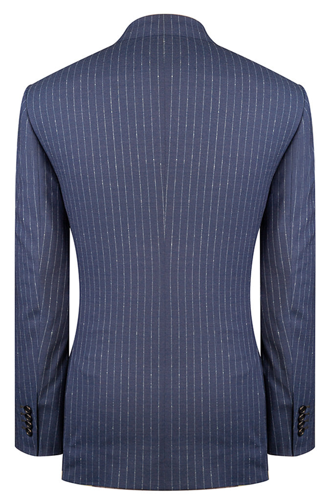 Denim Blue Luxury Stripe Suit