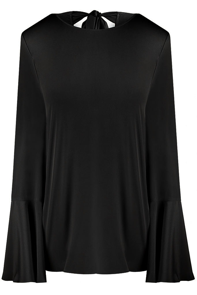 Black Luisa Silk Crepe de Chine