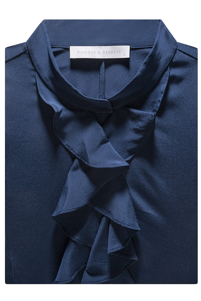 Navy Halina Silk Crepe de Chine
