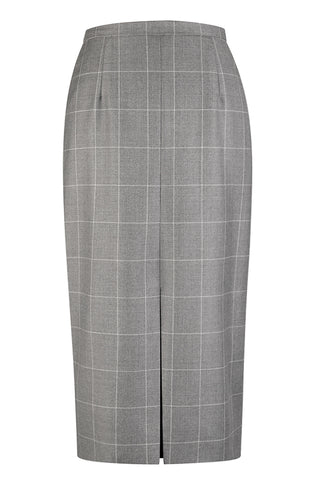 Mid Grey Window Check Skirt